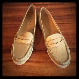 Liz Claiborne penny loafers size 7 1/2 gold New